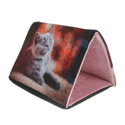 Домик для кошек PerseiLine Дизайн Шалаш+Лежак 2в1 Котята, разноцветный, 64x44x40см