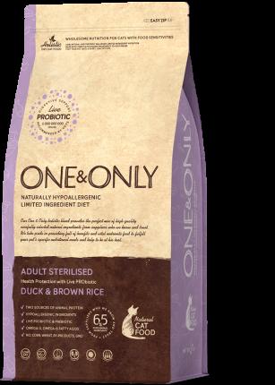 Сухой корм для кошек ONE&ONLY Adult STERILIZED, для стерилизованных, утка и рис, 0,4кг