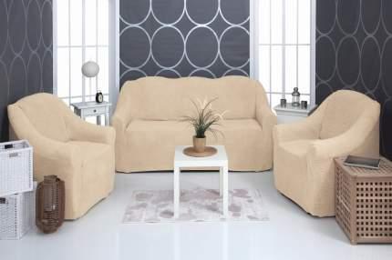 Комплект чехлов плюшевый Venera Soft sofa set, светло-бежевый