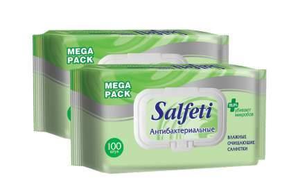 Влажные салфетки Salfeti antibac №100 антибактериальные с клапаном  (в наборе 2 упаковки)
