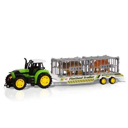 Фрикционный трактор Handers с прицепом, Трейлер с животными 51 см, HAC1608-119