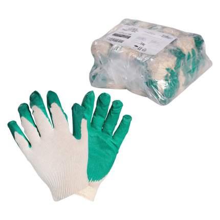 Перчатки ХБ с латексным покрытием ладони, зеленые (5 пар) AIRLINE AWG-C-07