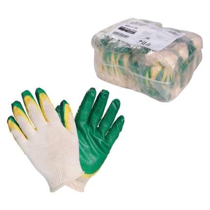 Перчатки ХБ с двойным латексным покрытием ладони, зеленые (5 пар) AIRLINE AWG-C-09