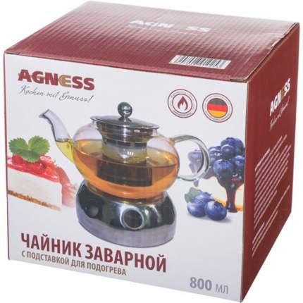 Чайник заварочный AGNESS, 800 мл, с подставкой для подогрева