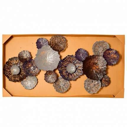 Настенный декор Гарда Декор Цветы серо-голубые 134,6x71,1x8,3см