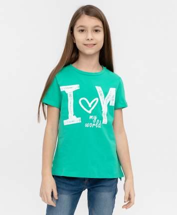 Футболка для девочек Button Blue, цв. зеленый, р-р 146