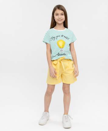 Футболка для девочек Button Blue, цв. зеленый, р-р 140