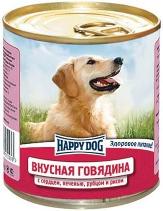 Консервы для собак Happy Dog Вкусная Говядина с сердцем печенью рубцом рисом, 12шт по 750г