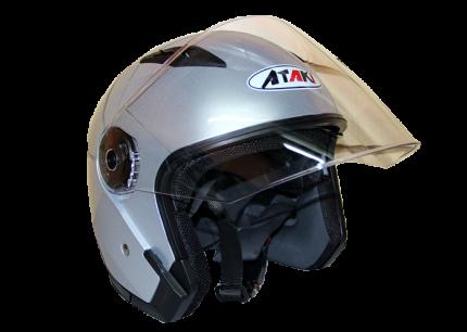 Шлем (открытый со стеклом) Ataki OF512 Solid серебристый глянцевый, размер XL