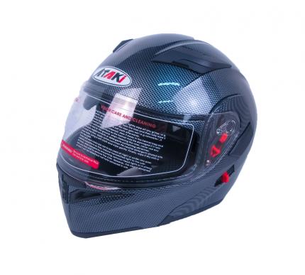 Шлем (модуляр) Ataki FF902 Carbon черный/серый глянцевый, размер S