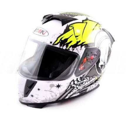 Шлем (интеграл) Ataki FF311 Skull белый/черный/желтый глянцевый, размер XL