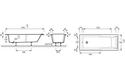 Акриловая ванна Jacob Delafon Struktura 170x70, прямоугольная