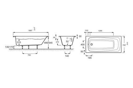 Акриловая ванна Jacob Delafon Patio 170x70, прямоугольная