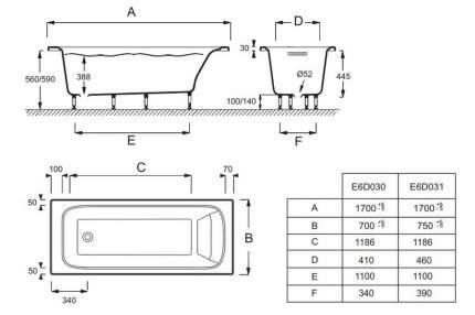 Акриловая ванна Jacob Delafon Elite 170x70, прямоугольная