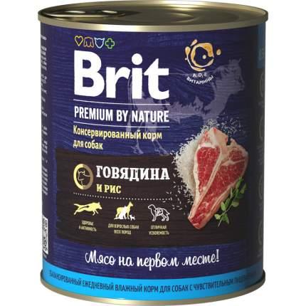 Влажный корм для собак Brit Premium by Nature , говядина, рис, 850г