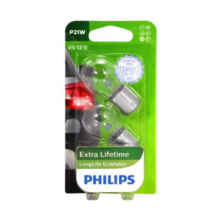 Сигнальная лампа 12V P21W LongLife EcoVision (блистер 2 лампы) PHILIPS арт. 12498LLECOB2