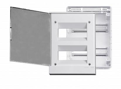 Бокс в нишу ABB Basic E 24М серая прозрачная дверь (c клеммами)