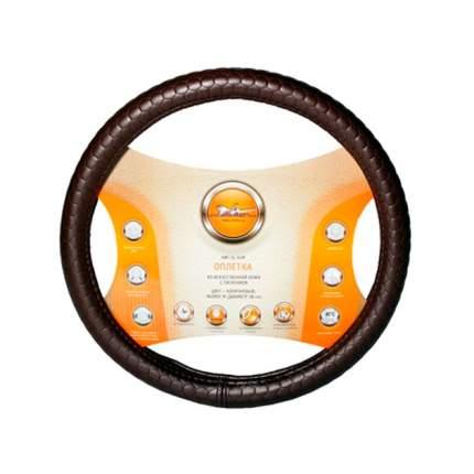 Оплетка на руль, искусственная  кожа с тиснением, коричневая, 40 см / L AIRLINE AWC-SL-04L