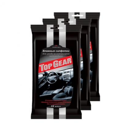 Влажные салфетки Top Gear №30 для салона автомобиля  (в наборе 3 упаковки)