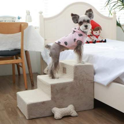Лесенка для собак Pinkaholic Luna Stairs, бежевая, 56,5х37х38 см