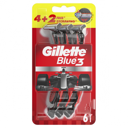"Бритвы одноразовые ""Gillette Blue 3 Red"" 6 штук"
