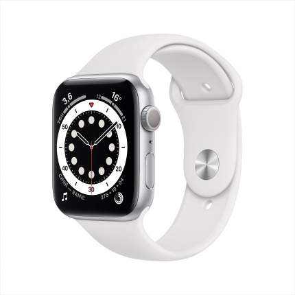 Смарт-часы Apple Watch Series 6 44mm Silver with White Sport Band (M00D3RU/A)