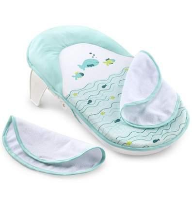 Складной лежак для купания Summer Bath Sling с махровыми накладками бело-голубой