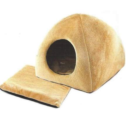 Домик для кошек и собак Дарэлл Zoo-M YURTA с подушкой, бежевый, 42x42x41см