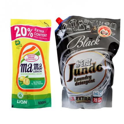 Гель для посуды Mama Lemon лимон 600 мл и гель для стирки черного белья Jundo Black 1.2 л