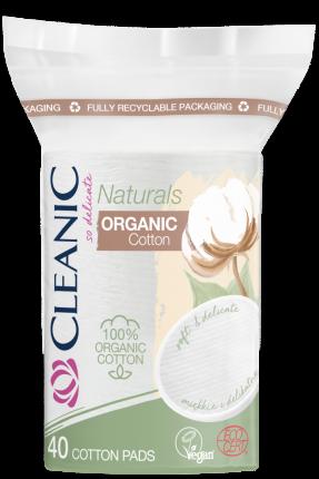Ватные диски CLEANIC Naturals Organic Cotton овальные п/э с веревочкой 40 шт