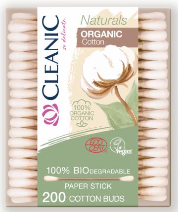Ватные палочки из органического хлопка CLEANIC Naturals Organic Cotton, 200 шт