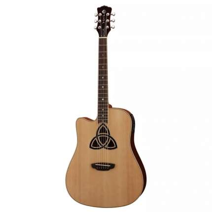 Luna TRI D lefty - Luna TRI D lefty электроакустическая гитара дредноут с вырезом