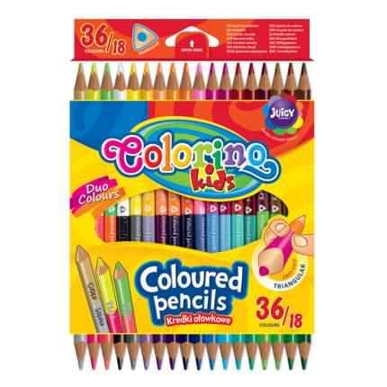 """Цветные треугольные карандаши """"Colorino"""", двухсторонние, 36 цветов"""