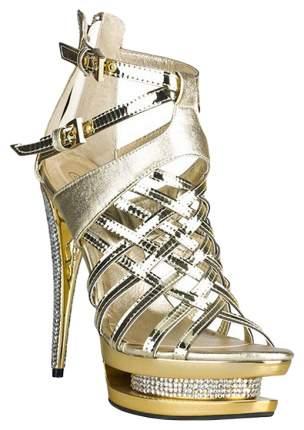 Босоножки Hustler Shoes лаковые со стразами золотые р.40