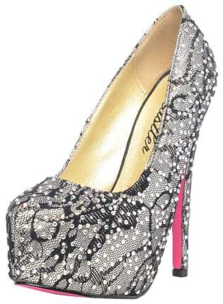 Туфли Hustler Shoes Dark Silver гипюровые с кристаллами р.35
