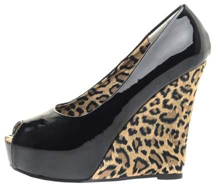 Туфли Hustler Shoes с леопардовой танкеткой блестящие р.41