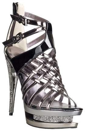 Босоножки Hustler Shoes лаковые со стразами базальтовые р.40