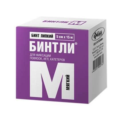 Бинт липкий нетканный Бинтли-М 5см х15м (мягкий)