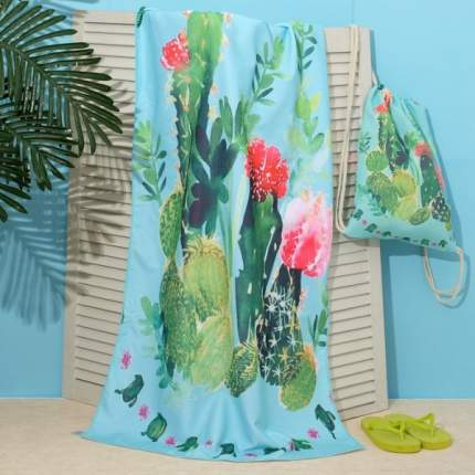 """Полотенце пляжное в сумке Этель """"Кактусы"""", 70*140 см, микрофибра, 100% п/э Этель"""