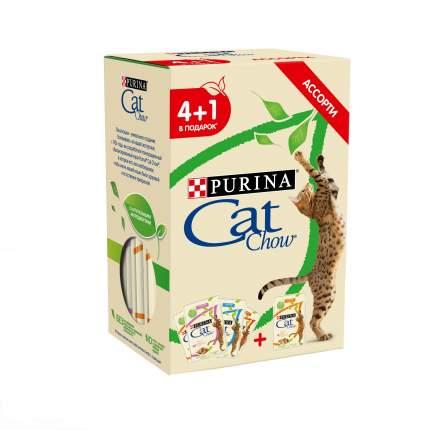 Влажный корм для кошек Cat Chow 4+1: говядина, курица, лосось, 5 шт по 85г