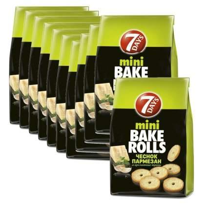 Сухарики 7 Days мини Bake rolls с пармезаном чесноком и травами 10*80 г