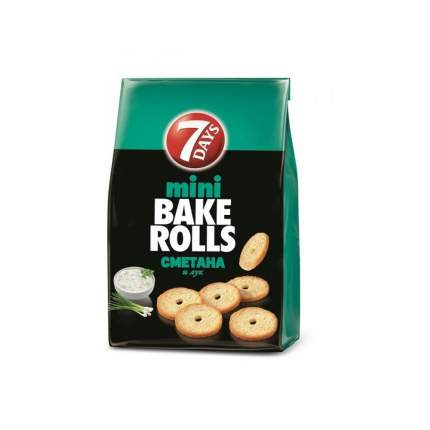 Сухарики 7 Days мини Bake rolls с приправой сметана и лук 10*80 г