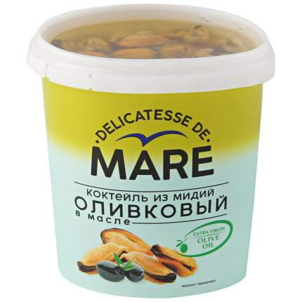 Коктейль оливковый маре из мидий в масле 380 г пл/б балтийский берег россия