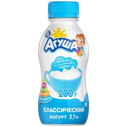 Йогурт агуша натуральный питьевой бзмж жир. 3.1 % 200 г пл/б вбд россия