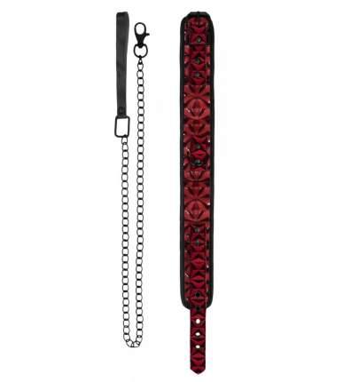 Красно-черный широкий ошейник с поводком Luxury Collar with Leash Shots Media BV