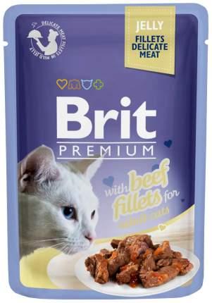 Влажный корм для кошек Brit Premium Jelly Beef Fillets, филе говядины в желе, 24шт по 85г