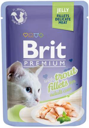 Влажный корм для кошек Brit Premium Jelly Trout Fillets, филе форели в желе, 24шт по 85г