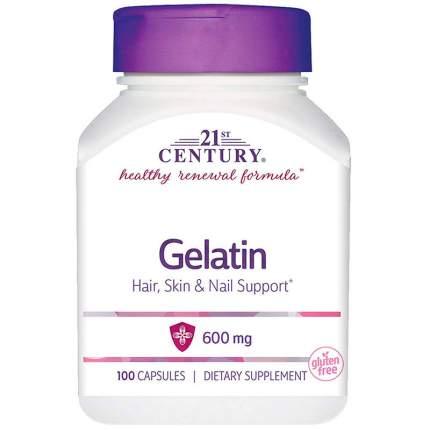 Добавка для суставов и связок желатин натуральный 21ST CENTURY 600 мг капсулы 100 шт.