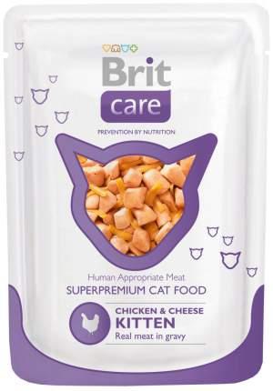 Влажный корм для котят Brit Care Chicken & Cheese Kitten, с курицей и сыром, 24шт по 80г