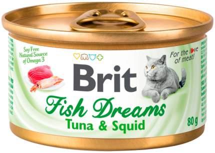 Консервы для кошек Brit Care Fish Dreams, с тунцом и кальмарами, 12шт по 80г